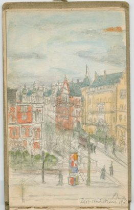 Berlin street scene from sketchbook, 1902-1903
