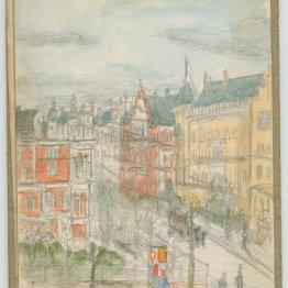 Berlin street scene from sketchbook, 1902-1903