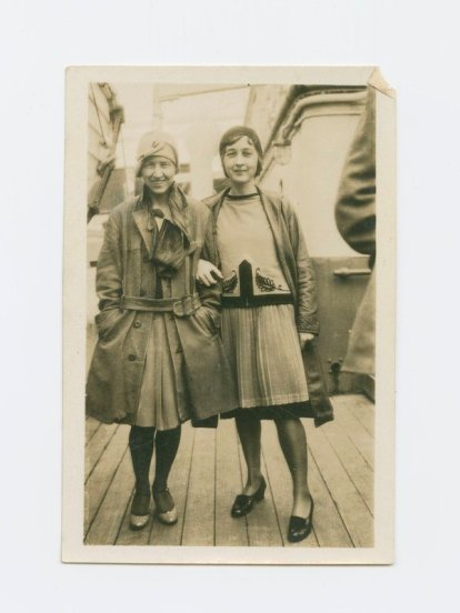 Photo of Lutah Maria Riggs and friend on boat to Europe, 1928. From the Lutah Maria Riggs Papers, collection 169.