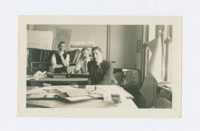 Underhill crew in drafting room; from left Richard Pitman, Albert Larson, and Ralph Armitage