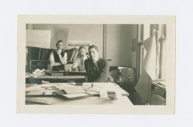 Underhill crew in drafting room; from left Richard Pitman, Albert Larson, and Ralph Armitage