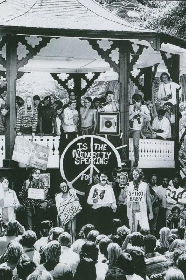 Joseph S. Melchione; Protestors at Chase Palm Park; gelatin silver print; 25 ½ x 21 ½ in; ©The Estate of Joseph S. Melchione.