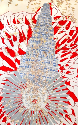 Alice Aycock, Rock, Paper, Scissors (India '07), 2010. Watercolor and ink on paper. Miami Art Museum. Gift of Jerry Lindzon.