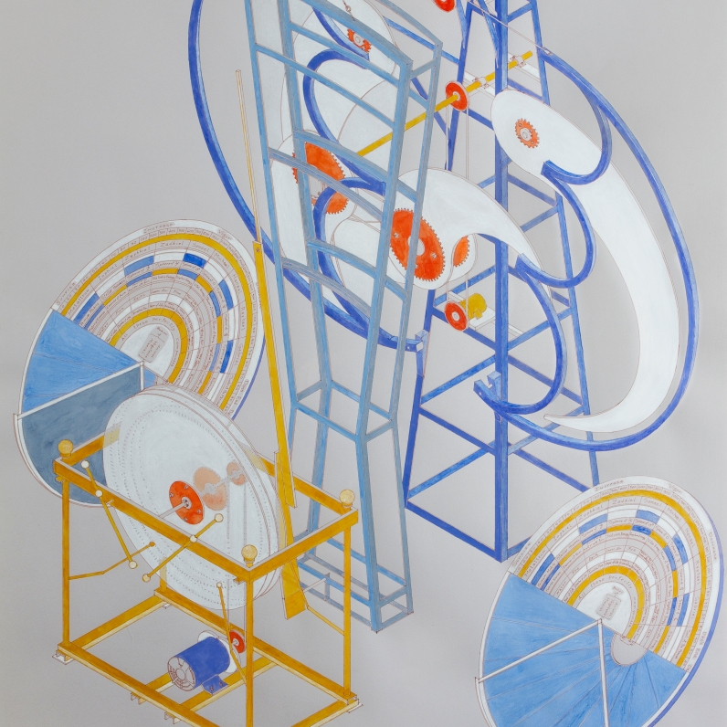 Alice Aycock; The Silent Speakers: Every Day I'm Born, Every Night I Die (1984), 1990 Ink and watercolor on paper 39 ¼ x 27 ½ Private Collection, New York