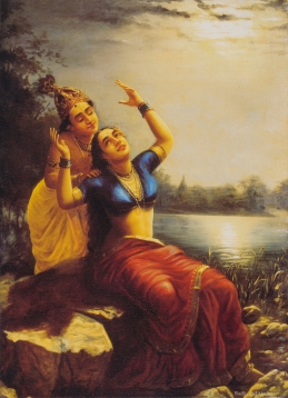 Raja Ravi Varma, Radha and Madhav, c.20th century, inkjet print on canvas, 16 x 11 in. Museum Purchase.