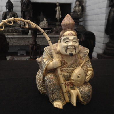 Japanese Fisherman, two-piece ivory sculpture, Lifshitz Collection.