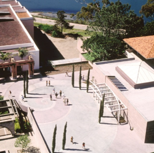 The AD&A Museum is located to the right of the UCen, overlooking the Lagoon.