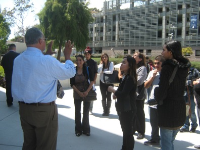High school students and families gathered at UCSB to view their exhibitions and tour the campus.