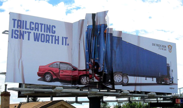 """Tailgating Isn't Worth It"" Billboard by Amelie, US for Colorado State Patrol- Billobard Art"